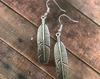 Silver feather earrings | Silver feather dangle earrings | Feather jewelry | Feather jewellery | Feather earrings