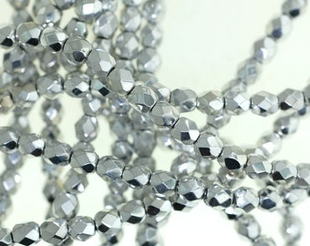 4mm Fire Polished Czech Glass Beads, Silver Faceted Rounds - 1 Strand (50 pcs)