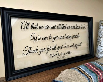 Parents Wedding Gift Parents of the Bride Gift Mother in Law Gift Grandparents Wedding Gift Parents of the Groom Gift Thank You Gift A123