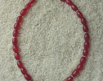 Sterling Silver and Faceted Ruby Red Bead Necklace