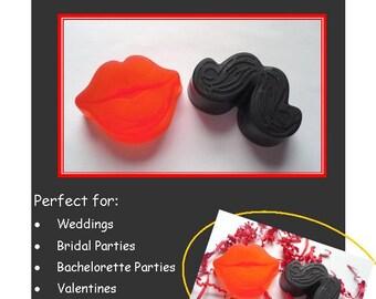 10 Mustache and Lip Soap Sets, Mustache and Lip Gift Set, Mustache and Lip Soap Favors, Wedding Favors, Bachelor Favors, Bridal Shower Favor