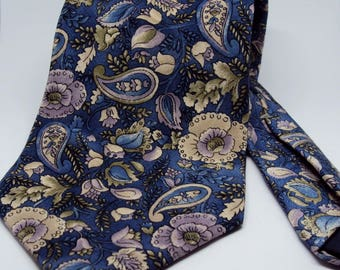All Silk J.T. Beckett Blue and Floral Paisley Tie
