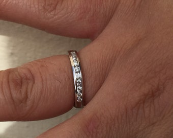 Diamond wedding/anniversary 14k white gold channel set ring