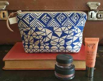 Screen printed mini make-up bag, zipped pouch by Lucie Summers