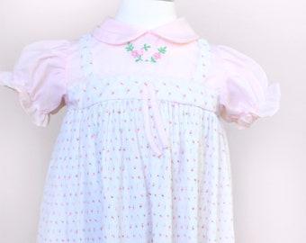 Vintage Toddler Dress / Vintage Pleated Rosebud Dress / Size 18 Months