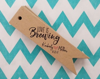 Love is Brewing Pennant Flag Wedding Favor Tags - Kraft Brown Personalized Tags PT011