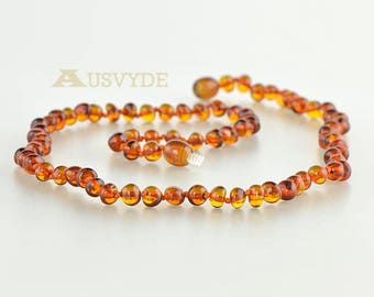 Amber Necklace for Adults, Baltic Amber beads, Cognac color, Baroque Amber, Amber Necklace, Natural amber, 48 cm