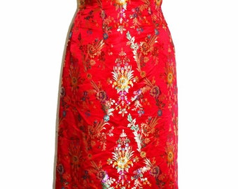 Vintage 1970s peony brand reversible silk embroidered floral frog button chinese cheongsam qipao festival Royal jacket made Dress china