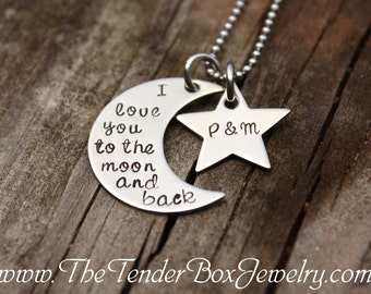personalized necklace I love you to the moon and back with star hand stamped pendant necklace