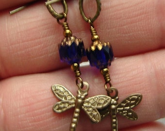 handmade OOAK dragonfly and glass earrings My blues are flying away