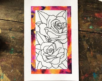 Roses w/ Watercolor Frame