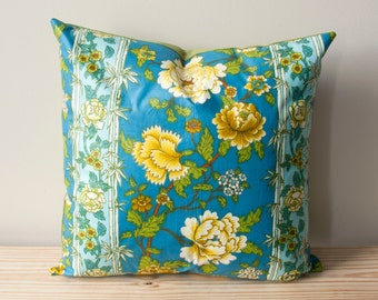 Handmade Floral Vintage Fabric Pillow | Blue + Green + Yellow