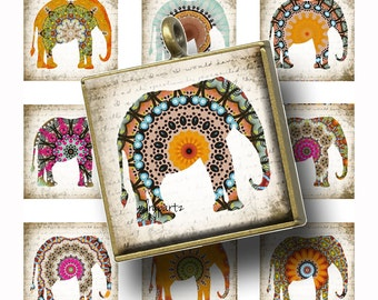 Land DOWN UNDER Rustic Elephant•1x1 square images•Printable Digital Images•Cards•Gift Tags•Sticker• Magnets•Digital Collage Sheet