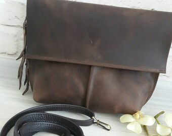 Crossbody Purse. Genuine Leather Crazy Horse. Clutch Purse. Woman's Bag. Handbag. Crossbody Bag. Shoulder Bag. Designer Bag. 100% Handmade.