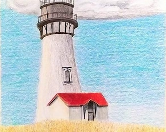 Original landscape drawing, art, lighthouse