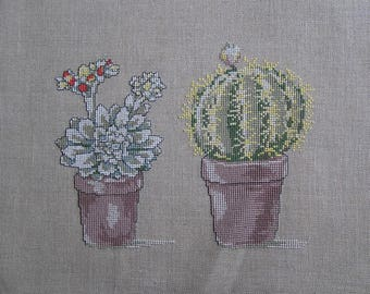 Cactus 2 taupe embroidery