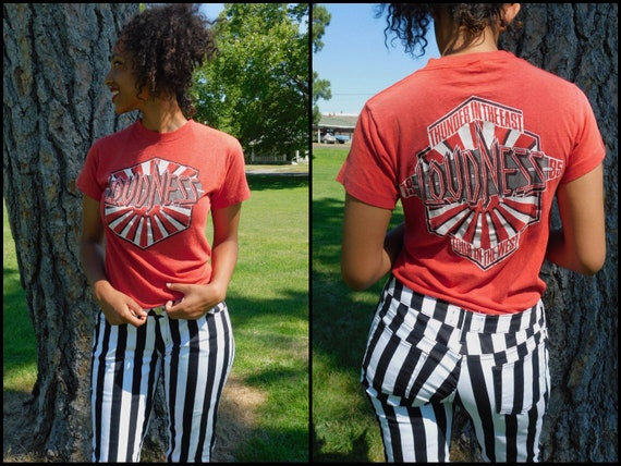 """Ultra Rare 1985 """"Loudness"""" Punk 2 sided Tour Very Thin Cotton T Shirt ~ US Medium ~ Dimensions Below"""