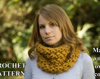 CROCHET PATTERN Puff Stitch Cowl, Button Neck Warmer Pattern, Women's Chunky Cowl Instant Download