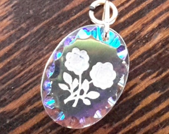 Little Reverse-Carved Glass Crystal Double Flower Pendant
