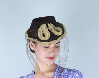 Vintage 1930s 1940s Hat | 30s 40s Brown Tilt Hat with Beige Tulle Ruffle Trim and Veil by The Emporium