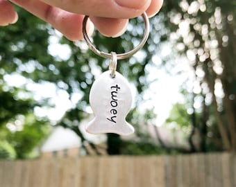 Cat ID Tag - Fish Shaped Cat Tag - Cat Name Tag - Cat Accessory - Hand-Stamped Cat Tag - Pet Name Tag