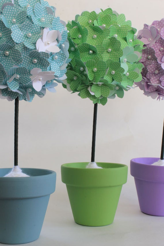 Items similar to flower topiary set of 3 paper flowers paper items similar to flower topiary set of 3 paper flowers paper hydrangeas centerpieces paper kissing balls pomander ball on stick lavender blue green mightylinksfo