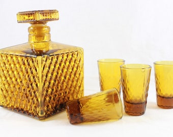 Shot Glass Decanter Set Amber Made In Taiwan Vintage 1970s