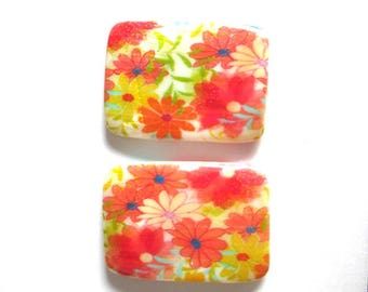 2 rectangle 35x25mm flower printed pearl beads