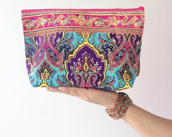 Bohemian Handbags Clutch Bag Wrist let Toiletry Bag Cosmetic Bag Clutch Purse Hipster Bag Hippie Boho Summer Hobo Yoga Makeup organizer