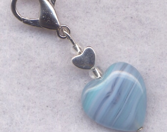 Arctic Blue Heart Stitch Marker Clip Stripey Aqua Blue Heart Single /SM216D