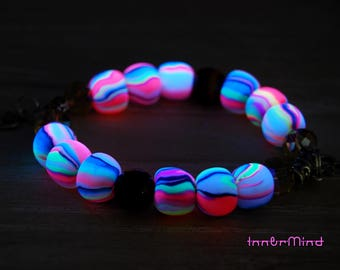 FREE shipping ! UV blacklight clay bracelet with AUM charms and Tiger Eye