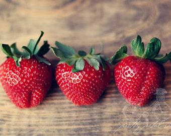 SALE, Fine Art Photo, Kitchen Art, Macro Photography, Food Print, Summer Fruit, Foodie Art, Strawberry Art, Small Art, Print, Wall Decor