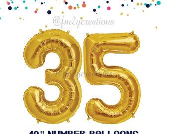 35th Birthday GOLD Number Balloons | 35th birthday decorations | 35th birthday for her | 35th GOLD Balloon Banner | 35th birthday for HIM