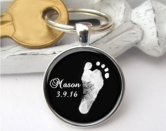 Fußabdruck Schlüsselanhänger, tatsächliche Fußabdruck Ihres Kindes, personalisierte Schlüsselanhänger, Baby Fußabdruck