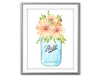 SALE-Daisies In Vintage Mason Jar-Digital Print-Wall Art-Digital Designs-Home Decor-Gallery Wall- Quote Prints-Typography-Watercolor Print
