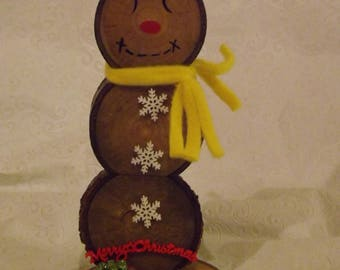 Bright Christmas Wood Slice Snowman with Present Christmas Decoration