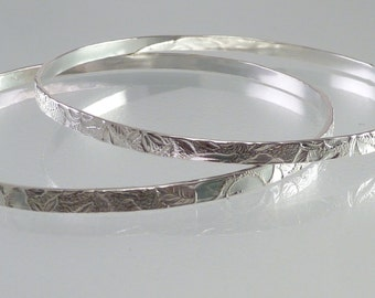 Handcrafted Sterling Silver Garden Bangle (Single)