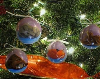 Slumbering Winter Animals Hand-Painted Gourd Ornament - Set of 4 - Purple