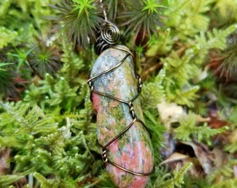Unakite Jasper Necklace Pendant for Ultimate Heart Chakra Healing, Passion, and Nurturing Vibes