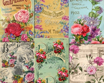 A4 Antique Rose Wallpaper Paper 6 PACK Instant Download Vintage Floral Victorian Shabby Chic Craft Wrapping Scrap Digital PalaisFleurVintage