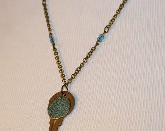 Vintage Key Necklace with Patina Green Charm