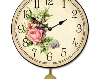 Country Floral Pendulum Wall Clock