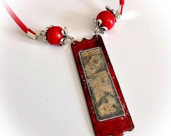 Copper enamel, red pendant necklace, spirit Japan etched zinc.
