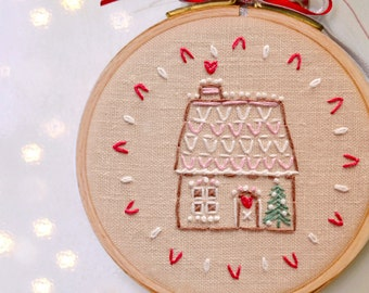 Embroidery ornament, DIY Christmas, PDF, Hand embroidery patterns, Holiday ornaments, DIY gift, Gingerbread house #1 by NaiveNeedle