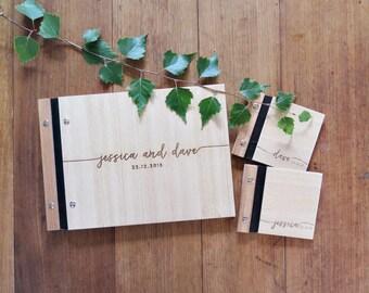 Wedding Guest Book, Wedding Vows Book, Handwritten Font, Engraved Wood, Modern Calligraphy, Wedding Shower Gift.
