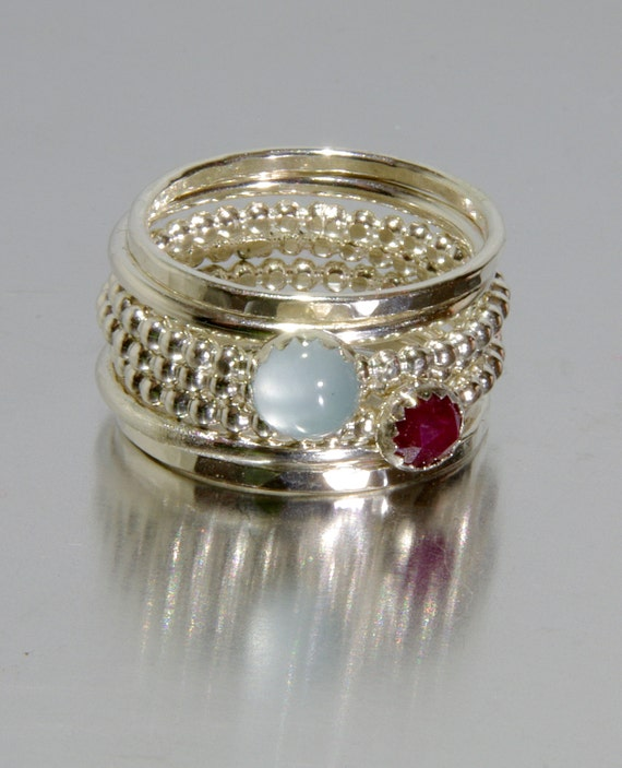 aquamarine ruby stacking mothers rings personalized rings. Black Bedroom Furniture Sets. Home Design Ideas