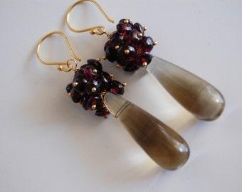 Smooth Smoky quartz and garnet Cluster earrings -Long drop Dangle Earrings- Long Earrings