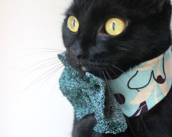 Pet Collar Accessory in Teal with Large Bow