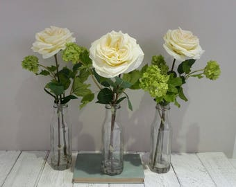 Mothers day gifts Cream silk rose tall glass bottle vase Lime green & White flowers Large artificial roses Flower arrangement Faux bouquet