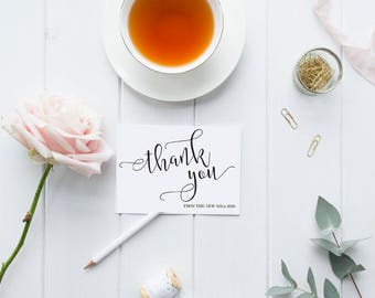 Wedding Thank You Cards, Thank you Printable Card, Wedding Thank you, Thank you cards, From The New Mr and Mrs Wedding Thank You,  Instant